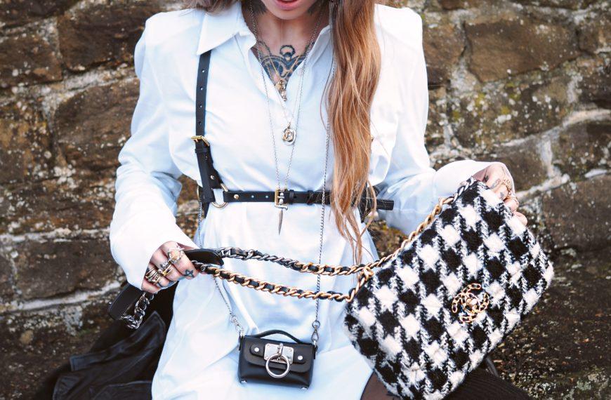a white shirt dress